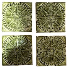 Set of Four American Aesthetic Movement Green Glazed Pottery Tiles