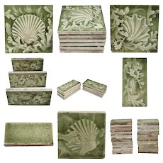Collection of 92 American ISAAC BROOME for Providential Green Glazed Shell Fireplace Tiles
