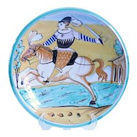 Vintage Italian Majolica Pottery Charger Plate, Soldier on Horseback