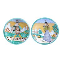 Pair of Vintage Italian 17th Century Style Majolica Pottery Charger Plates
