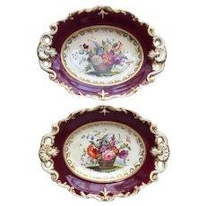 Pair of English Samuel Alcock Porcelain Floral Basket Claret Ground Dessert Plates