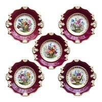 Set of Five English Samuel Alcock Porcelain Floral Basket Claret Ground Plates