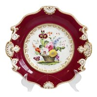 English Samuel Alcock Porcelain Floral Basket Claret Ground Plate