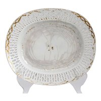 Chinese Export Porcelain Oval Reticulated Gold Trim Serving Dish