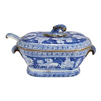English Herculaneum Blue and White Transferware Greek Pattern Tureen and Ladle