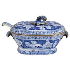 English Herculaneum Blue and White Transferware Greek Pattern Tureen and Ladle