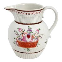 English Georgian Creamware Flower Basket Cream Pitcher