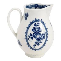 English Worcester Dr. Wall Blue and White Porcelain Sparrow Beak Creamer Jug