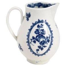 English Worcester Dr. Wall Blue and White Porcelain Sparrow Beak Creamer Jug