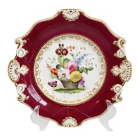 English Rockingham Porcelain Floral Basket Claret Ground Plate