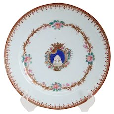 Chinese Export Porcelain Famille Rose Armorial Plate