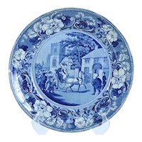 English Clews Staffordshire Historical Dark Blue Transferware Pottery Plate, Dr. Syntax
