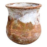 Vintage Painted Terracotta Ring Handle Garden Planter Urn