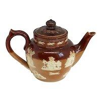 Small English Victorian  Lambeth Stoneware Pottery Teapot