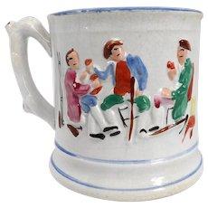 Large English Staffordshire Victorian Pottery Frog Surprise Tavern Mug