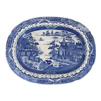English Staffordshire Transferware Pottery Bridgeless Chinoiserie Reticulated Platter