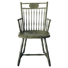 American New England Green Painted Faux Bamboo Windsor Armchair