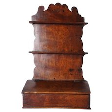 English Georgian Elm Hanging Spoon Rack and Candle Box