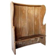 English Georgian Painted Pine Settle Bench