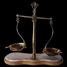 Large Italian Brass and Marble Assayer's Balance Counter Scale