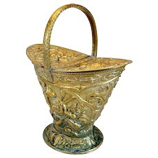 French Provincial Brass Repousse Coal Hod Bucket