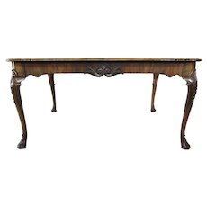 English Queen Anne Style Burl Walnut Veneer Extending Dining Table