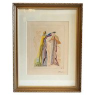 SALVADOR DALI Signed Color Woodblock Print, Virgil's Last Words from the Divine Comedy