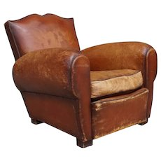French Parisian Art Deco Cognac Leather Moustache Back Club Chair