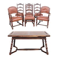 7-Piece Set of American Romweber Viking Oak and Leather Chairs and Extending Dining Table