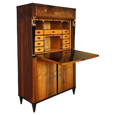 German Biedermeier Circassian Walnut Secretaire a Abattant