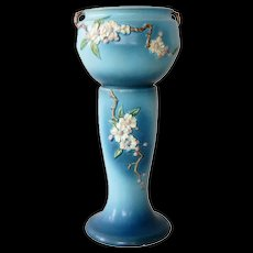 Large American Roseville Pottery Teal Apple Blossom Pattern Planter on Stand