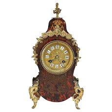 French Vincenti et Cie Louis XV Style Ormolu Faux Tortoiseshell Mantel Clock