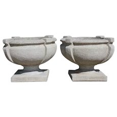 Pair Vintage American Nina Studio Cast Concrete Garden Urn Planters