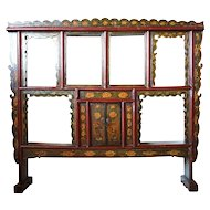 Small Chinese Painted Pine Wall Display Shelf
