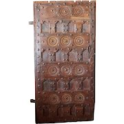 Indian Tribal Iron Mounted Teak Paneled Single Door