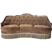 Tufted Upholstered Walnut Frame Three-Seater Sofa