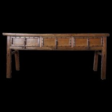 Chinese Elm Console or Sideboard Table