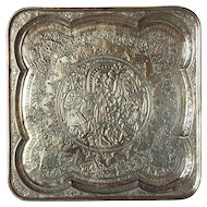 Persian Brass Repousse Square Platter