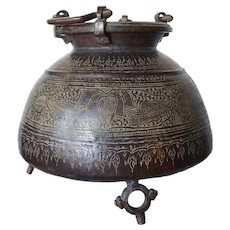 Heavy Indian Footed Engraved Bronze Urn