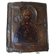 Russian Painted Brass Repousse Riza Icon Panel