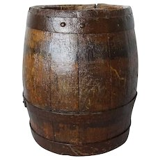Small English Iron Bound Oak Barrel