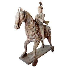 Indian Painted Teak Rider and Horse Statue on Wheels