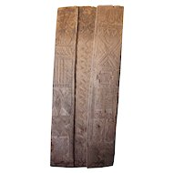 Vintage Large Nigerian Nupe Three-Panel Wood Single Door