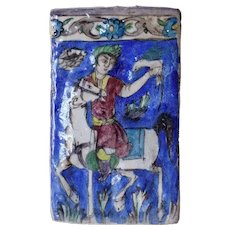 Persian Qajar Glazed Pottery Falconer on Horseback Tile