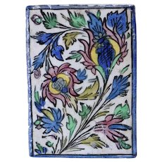 Vintage Persian Qajar Iznik Style Glazed Pottery Foliate and Floral Tile