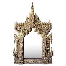 Large Burmese Buddhist Gilt and Glass Inlaid Wall Mirror