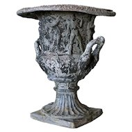 English Victorian Neoclassical Lead Garden Urn