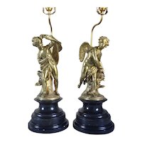 Pair French Louis XVI Style Gilt Bronze Cupid and Psyche Figural Table Lamps
