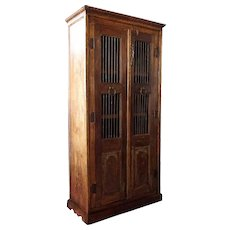 Indian Teak and Iron Bar Cabinet
