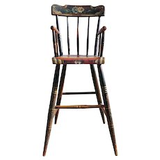 American Pennsylvania Painted Pine and Poplar Child's High Chair